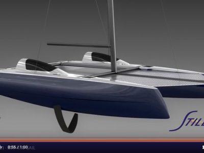 Stiletto catamaran foiling