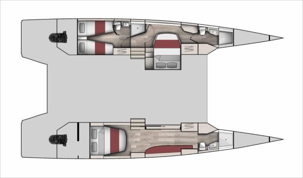 McConaghy 50 Multihull 3 Cabin Layout open floor plan