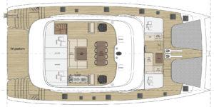 Sunreef 70 catamaran Flybridge Layout