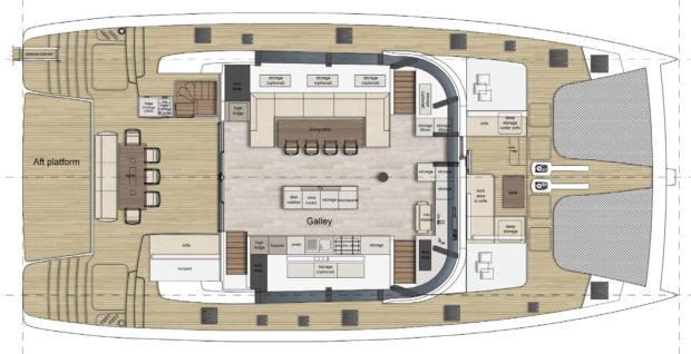 Sunreef 70 catamaran Galley UpLayout