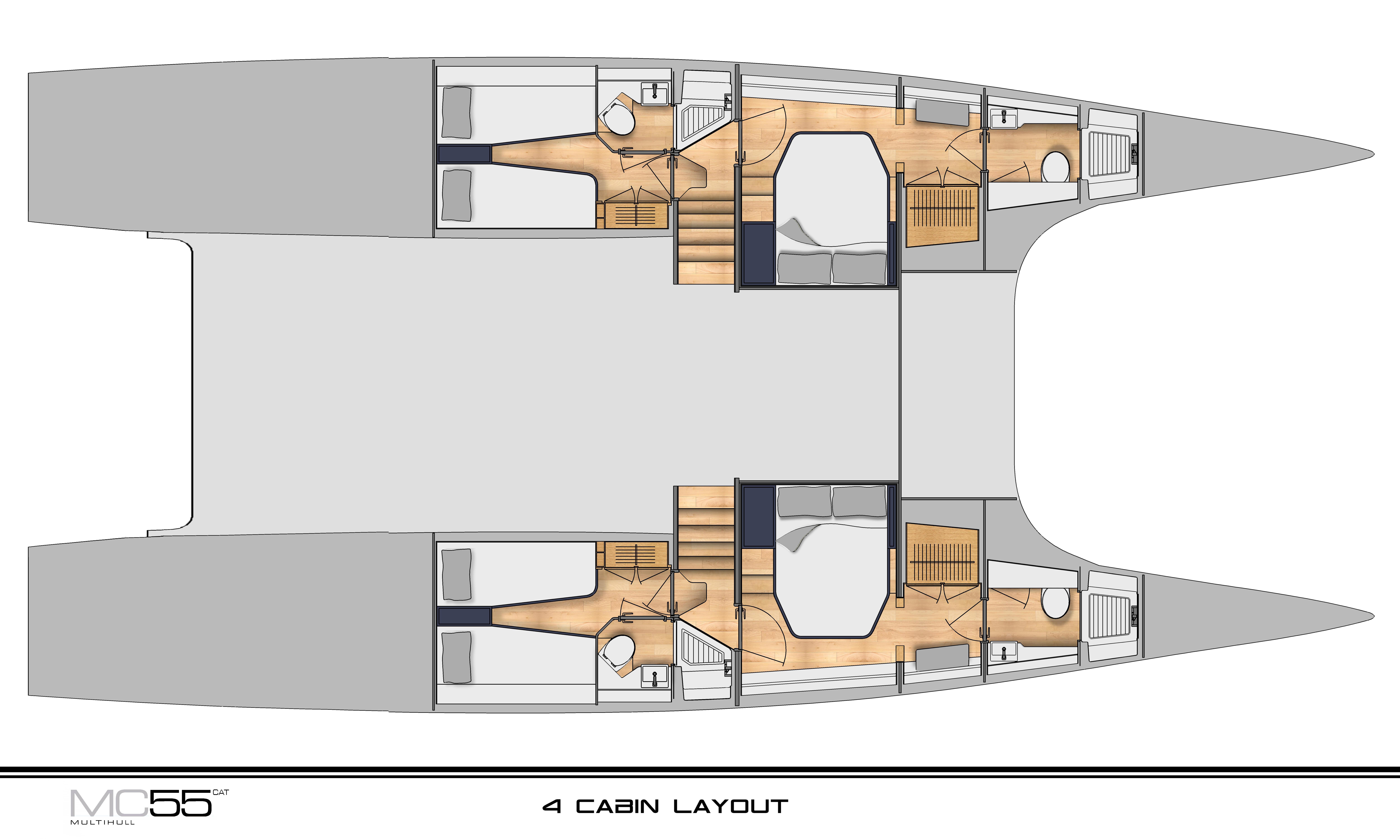 McConaghy 55 catamaran Layout