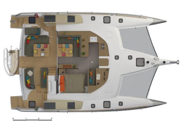 Neel 47 trimaran Layout Main deck